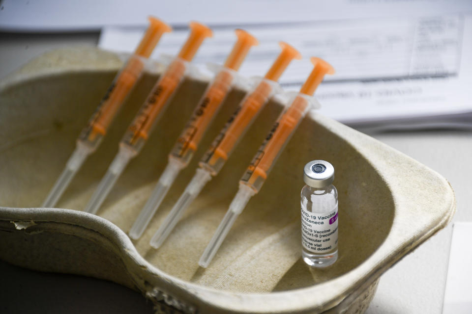 FILE - In this Sunday, March 21, 2021 file photo a vial and syringes of the AstraZeneca COVID-19 vaccine, at the Guru Nanak Gurdwara Sikh temple, on the day the first Vaisakhi Vaccine Clinic is launched, in Luton, England. AstraZeneca said Monday March 22, 2021 that advanced trial data from a U.S. study on its COVID vaccine shows it is 79% effective. The U.S. study comprised 30,000 volunteers, 20,000 of whom were given the vaccine while the rest got dummy shots. (AP Photo/Alberto Pezzali, File)