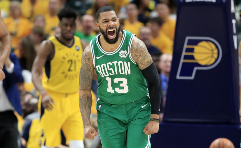 INDIANAPOLIS, INDIANA - APRIL 21: Marcus Morris #13 of the Boston Celtics celebrates against the Indiana Pacers in game four of the first round of the 2019 NBA Playoffs at Bankers Life Fieldhouse on April 21, 2019 in Indianapolis, Indiana. NOTE TO USER: User expressly acknowledges and agrees that , by downloading and or using this photograph, User is consenting to the terms and conditions of the Getty Images License Agreement. (Photo by Andy Lyons/Getty Images)