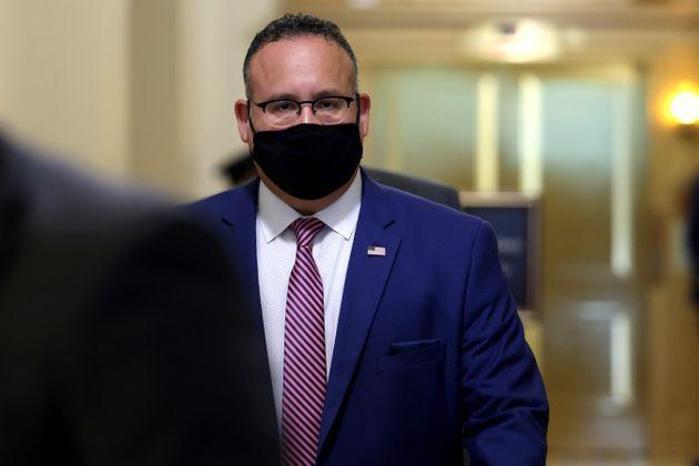 Secretary of Education Miguel Cardona departs from a meeting in the U.S. Capitol Building on Aug. 3 in Washington, D.C. (Photo: Anna Moneymaker via Getty Images)