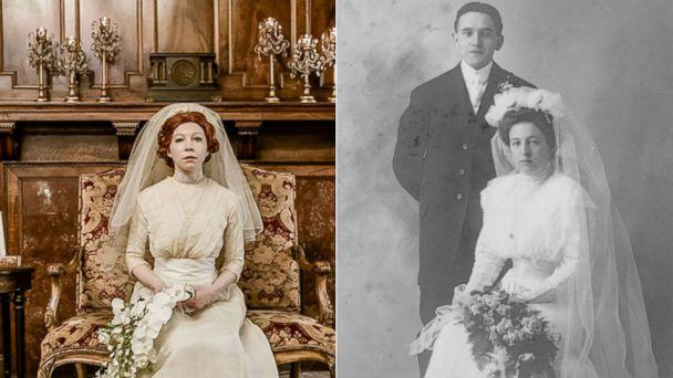 PHOTO: Colleen Dejno, 33, of St. Paul, Minnesota, wears the wedding gown belonging to her great-grandmother, Mary, and Mary poses at her 1910 wedding. (Jeannine Marie Photography|Patricia Cotter)