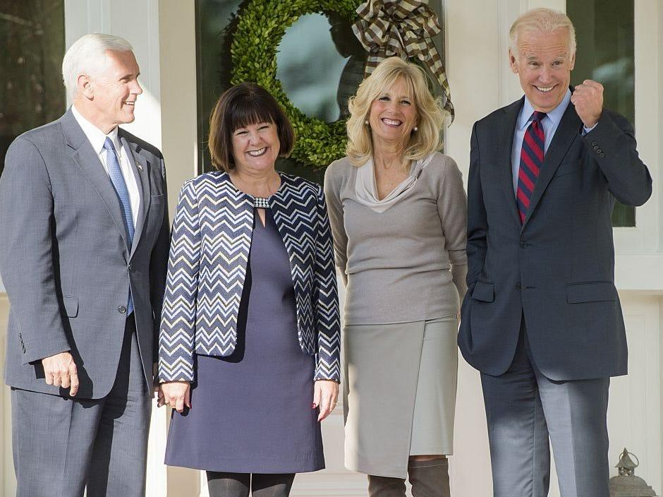 Pences and Bidens at VP Residence in 2016