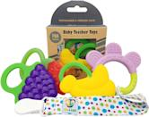 """<p>These <a href=""""amazon.com/Leo-Teething-Pacifier-Assorted-Fruit/dp/B08RLCKTF7/"""" class=""""link rapid-noclick-resp"""" data-ylk=""""slk:Ike &amp; Leo Teething Toys: Baby Infant and Toddler With Pacifier Clip"""">Ike &amp; Leo Teething Toys: Baby Infant and Toddler With Pacifier Clip</a> ($15) are not only supercute, they're dishwasher safe and BPA-free. Plus, they come with a pacifier clip; you clip it to your child's clothes and it ensures that the toys don't touch the floor.</p>"""