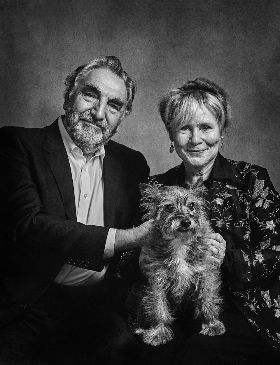 Jim Carter and Imelda Staunton with Molly - a rescue dog , Cairn Terrier cross