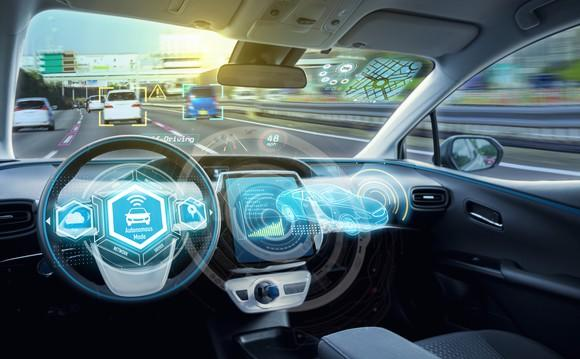 The inside of a driverless car.
