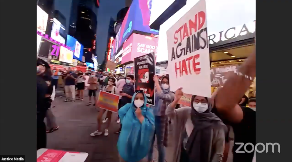 Still from the Indian American Muslim Council Live Stream of the protest against the Ram Mandir Billboard in NYC.