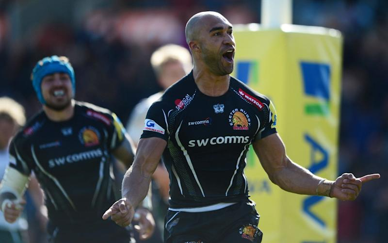 Olly Woodburn scored two tries for Exeter in their mauling of Northampton Saints - Getty Images Europe