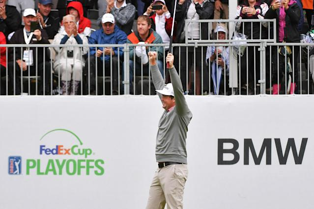 "<div class=""caption""> NEWTOWN SQUARE, PA - SEPTEMBER 10: Keegan Bradley celebrates winning the BMW Championship on the first playoff hole at Aronimink Golf Club on September 10, 2018 in Newtown Square, Pennsylvania. (Photo by Drew Hallowell/Getty Images) </div> <cite class=""credit"">Drew Hallowell</cite>"