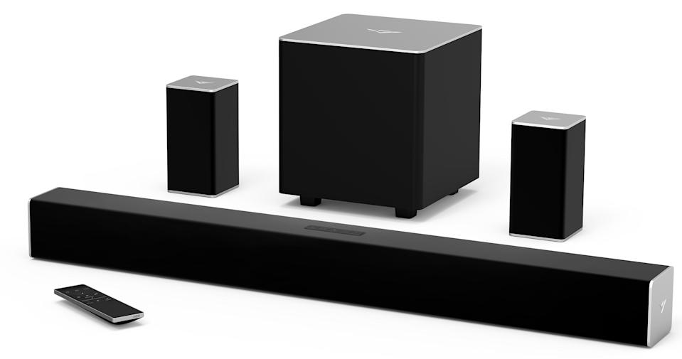 This set comes with a soundbar, subwoofer and two rear speakers. (Photo: Walmart)