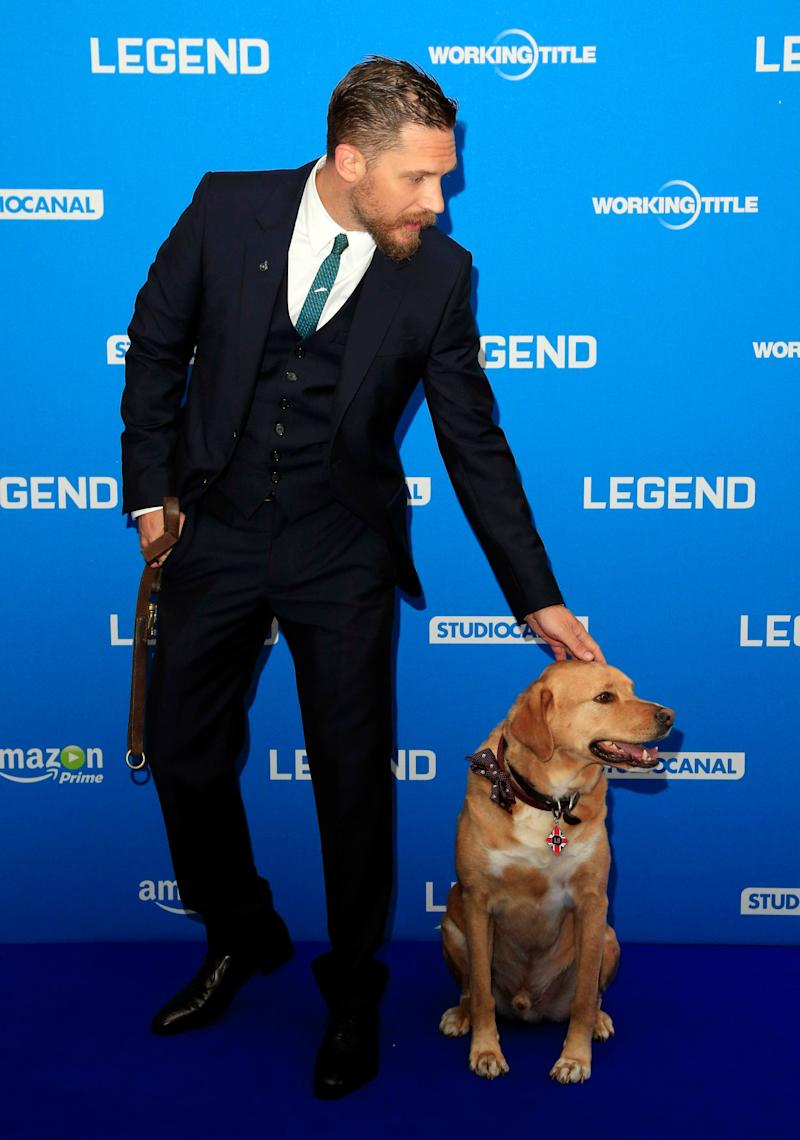Tom Hardy and his dog Woody attending the Legend world premiere at Odeon Leicester Square, London.