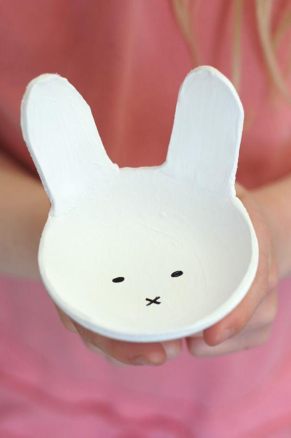 """<p>Air-dry clay, acrylic paint, and a Sharpie marker are all it takes to craft this quirky bowl. After the holiday, use it as a catch-all for jewelry on your daughter's dresser.</p><p><em><a href=""""http://www.aliceandlois.com/bunny-clay-bowls/"""" rel=""""nofollow noopener"""" target=""""_blank"""" data-ylk=""""slk:Get the tutorial at Alice and Lois »"""" class=""""link rapid-noclick-resp"""">Get the tutorial at Alice and Lois »</a></em><br></p><p><a class=""""link rapid-noclick-resp"""" href=""""https://www.amazon.com/gp/product/B002VR0C26?tag=syn-yahoo-20&ascsubtag=%5Bartid%7C10055.g.2217%5Bsrc%7Cyahoo-us"""" rel=""""nofollow noopener"""" target=""""_blank"""" data-ylk=""""slk:BUY AIR-DRY CLAY"""">BUY AIR-DRY CLAY</a> </p>"""