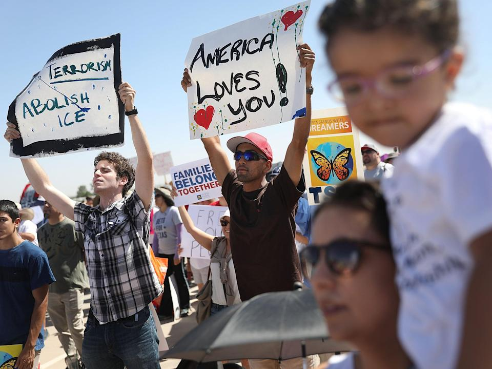 People protest near the tent encampment recently built at the Tornillo-Guadalupe Port of Entry on June 24, 2018 in Tornillo, Texas.  (Getty Images)
