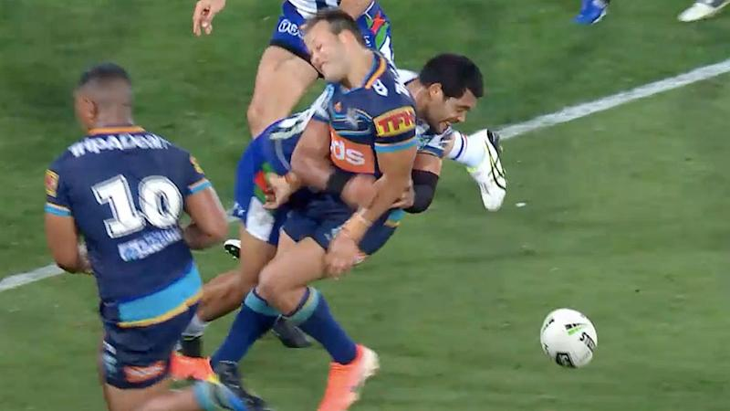Adam Blair took down Tyrone Roberts with 50 seconds left on the clock. Pic: Fox Sports