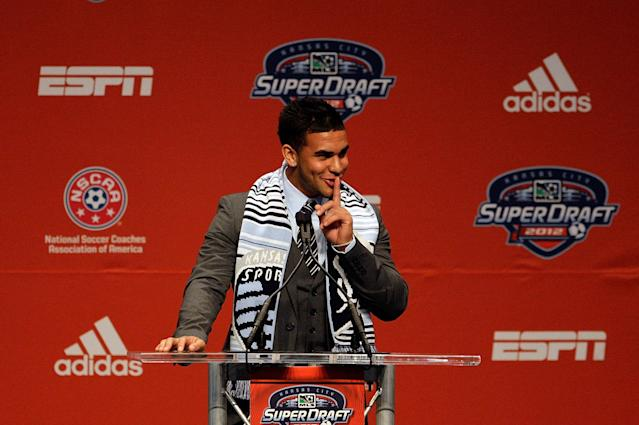 Dom Dwyer, selected at No. 16 overall in the 2012 MLS SuperDraft by Sporting Kansas City. He now plays for Orlando City. (Photo by Jamie Squire/Getty Images)