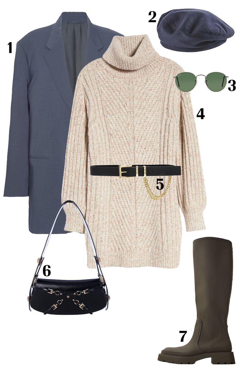 """<p>An easy way to be both trendy and comfy is to lean into the """"borrowed from the boys"""" trend. Layer a thick cable-knit sweater dress under an oversized straight blazer. Now, for accessories, add a <a href=""""https://www.marieclaire.com/fashion/a32971079/best-designer-belts-for-women/"""" rel=""""nofollow noopener"""" target=""""_blank"""" data-ylk=""""slk:belt"""" class=""""link rapid-noclick-resp"""">belt</a> to cinch the waist and coordinate a shoulder bag with gold accents to match. Finish off the look with a suede beret to mirror your blazer and you're ready for the city streets. </p><p>Shop the pieces:<em> <strong>1.</strong> </em><em><a href=""""https://thefrankieshop.com/products/graphite-notch-lapel-blazer?_pos=2&_sid=31012b66a&_ss=r"""" rel=""""nofollow noopener"""" target=""""_blank"""" data-ylk=""""slk:The Frankie Shop Blazer"""" class=""""link rapid-noclick-resp"""">The Frankie Shop Blazer</a></em><em>,</em> $179; <strong>2.</strong> <em><a href=""""https://helenkaminski.com/products/briar-deep-ink"""" rel=""""nofollow noopener"""" target=""""_blank"""" data-ylk=""""slk:Helen Kaminski Beret"""" class=""""link rapid-noclick-resp"""">Helen Kaminski Beret</a></em>, $130; <strong>3.</strong> <em><a href=""""https://www.nordstrom.com/s/ray-ban-icons-53mm-retro-sunglasses/5826146"""" rel=""""nofollow noopener"""" target=""""_blank"""" data-ylk=""""slk:Ray-Ban Sunglasses"""" class=""""link rapid-noclick-resp"""">Ray-Ban Sunglasses</a></em>, $154; <strong>4.</strong> <em><a href=""""https://www.nordstrom.com/s/all-in-favor-turtleneck-long-sleeve-sweater-dress/5770464?color=cream%20multi"""" rel=""""nofollow noopener"""" target=""""_blank"""" data-ylk=""""slk:All In Favor Sweater Dress"""" class=""""link rapid-noclick-resp"""">All In Favor Sweater Dress</a></em>, $69; <strong>5.</strong> <em><a href=""""https://www.revolve.com/blow-the-belt-phoenix-belt-in-black-gold/dp/BLOW-WA40/?d=Womens&product=BLOW-WA40&bneEl=true&"""" rel=""""nofollow noopener"""" target=""""_blank"""" data-ylk=""""slk:B-Low the Belt"""" class=""""link rapid-noclick-resp"""">B-Low the Belt </a></em>, $138; <strong>6.</strong> <em><a href=""""https://www.mancofficial.co"""