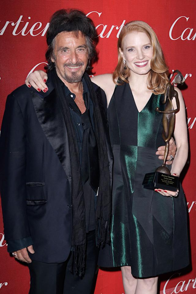 "<a href=""http://movies.yahoo.com/movie/contributor/1800017701"">Al Pacino</a> and <a href=""http://movies.yahoo.com/movie/contributor/1809669328"">Jessica Chastain</a> attend the 23rd Annual Palm Springs Film Festival awards gala on January 7,2012."