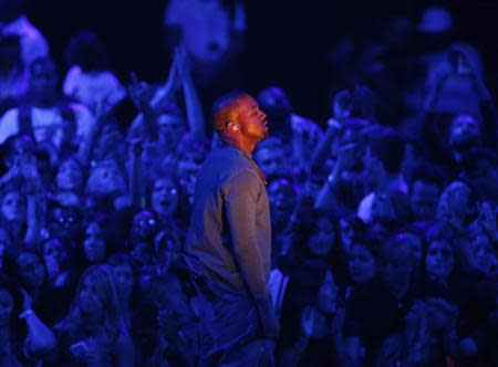 """Kanye West performs """"Blood on the Leaves"""" during the 2013 MTV Video Music Awards in New York"""