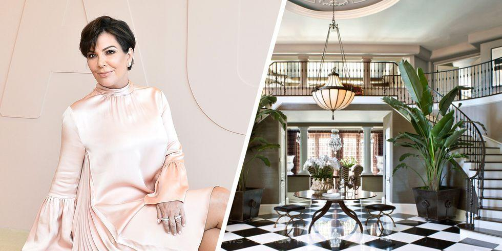 """<p>Kris Jenner resides in this <a rel=""""nofollow"""" href=""""http://www.elle.com/culture/art-design/news/g26957/kris-jenner-redesigned-home/"""">glam L.A. mansion</a>, fully renovated in 2015 by Jeff Andrews. This magnificent home is the perfect backdrop for the show, featuring everything from gorgeous black-and-white marble floors to decadent chandeliers.</p>"""