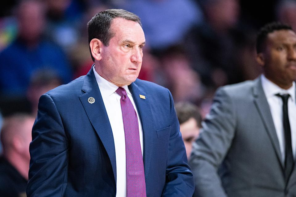 WINSTON-SALEM, NORTH CAROLINA - FEBRUARY 25: Head coach Mike Krzyzewski of the Duke Blue Devils during the first half during their game against the Wake Forest Demon Deacons at LJVM Coliseum Complex on February 25, 2020 in Winston-Salem, North Carolina. (Photo by Jacob Kupferman/Getty Images)