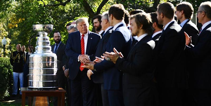 Donald Trump did his typical Donald Trump thing as the Blues visited the White House on Tuesday. (BRENDAN SMIALOWSKI/AFP via Getty Images)