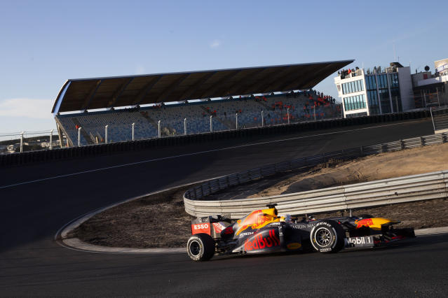 - FILE - In this Wednesday, March 4, 2020, file image, F1 driver Max Verstappen of The Netherlands drives his car through one of the two banked corners during a test and official presentation of the renovated F1 track in the beachside resort of Zandvoort, western Netherlands. The iconic Monaco Grand Prix was added Thursday to a growing list of Formula One races to be postponed because of the coronavirus outbreak. The first seven races of the Formula One season have now been postponed, with Netherlands and Spain joining Monaco as the latest to be called off. For most people, the new coronavirus causes only mild or moderate symptoms, such as fever and cough. For some, especially older adults and people with existing health problems, it can cause more severe illness, including pneumonia. (AP Photo/Peter Dejong, File)