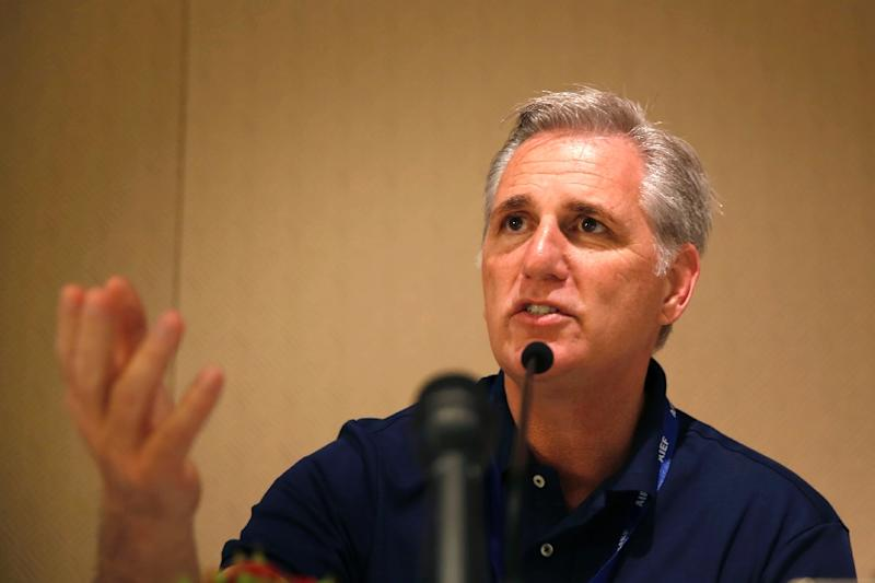 US House of Representatives' majority leader Kevin Owen McCarthy speaks during a meeting at the King David Hotel in Jerusalem on August 13, 2015 (AFP Photo/Gali Tibbon)