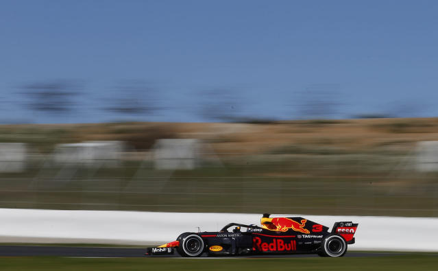 Red Bull driver Daniel Ricciardo of Australia steers his car during a Formula One pre-season testing session in Montmelo, outside Barcelona, Spain, Wednesday, March 7, 2018. (AP Photo/Manu Fernandez)