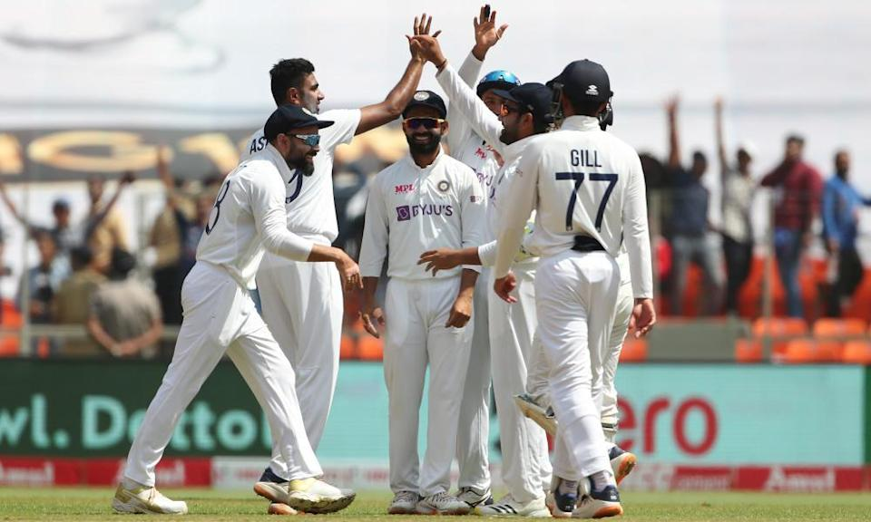 India celebrate the dismissal of Jonny Bairstow during the fourth Test against England in Ahmedabad in March