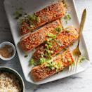 <p>The sesame seeds in the sweet sauce atop this salmon add nutty flavor and a little texture. Finishing the salmon in the oven turns the sauce into a thick, caramelized glaze.</p>