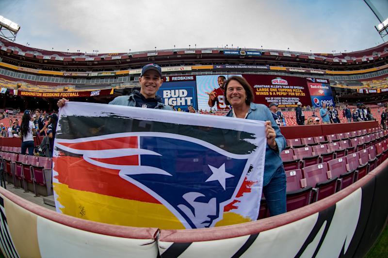 New England Patriots fans have taken over FedEx Field for Sunday's game vs. Washington. (Getty Images)