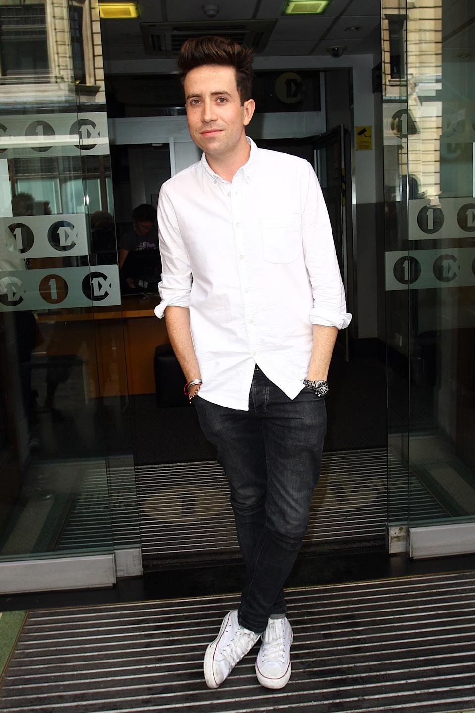 LONDON, UNITED KINGDOM - JULY 11: Nick Grimshaw seen arriving at BBC Radio One after its announced that he'll be the new host of the Breakfast Show on July 11, 2012 in London, England. (Photo by Neil Mockford/FilmMagic)