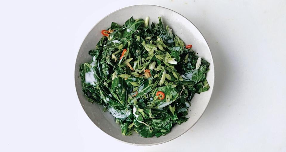 """Finishing this dish with coconut milk retains its sweet flavor. <a href=""""https://www.bonappetit.com/recipe/aromatic-wilted-greens-with-coconut-milk?mbid=synd_yahoo_rss"""" rel=""""nofollow noopener"""" target=""""_blank"""" data-ylk=""""slk:See recipe."""" class=""""link rapid-noclick-resp"""">See recipe.</a>"""