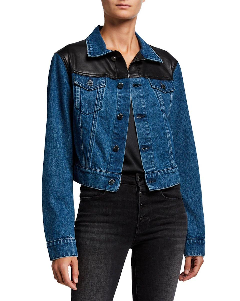 "<p><strong>LaMarque</strong></p><p>https://www.neimanmarcus.com</p><p><strong>$103.00</strong></p><p><a href=""https://www.neimanmarcus.com/p/lamarque-karly-cropped-denim-jacket-w-leather-prod224380230"" rel=""nofollow noopener"" target=""_blank"" data-ylk=""slk:Shop Now"" class=""link rapid-noclick-resp"">Shop Now</a></p><p>The black leather here is the perfect contrast to the blue denim. </p>"