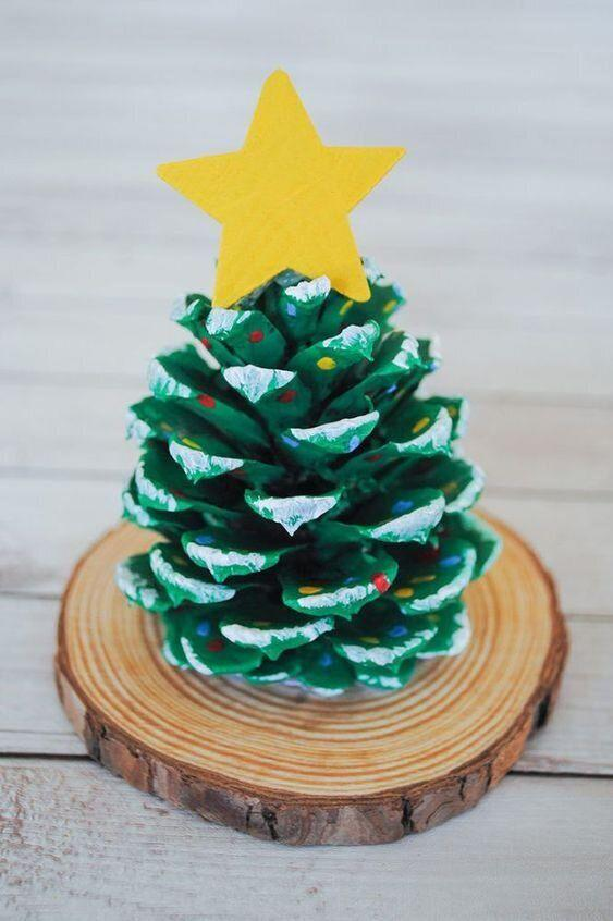 """You make a tree out of a pinecone, which comes from a tree. It's a craft, but meta. Learn how to make it at <a href=""""https://pjsandpaint.com/crafts/pinecone-christmas-tree-craft/"""" target=""""_blank"""" rel=""""noopener noreferrer"""">PJs and Paint</a>."""