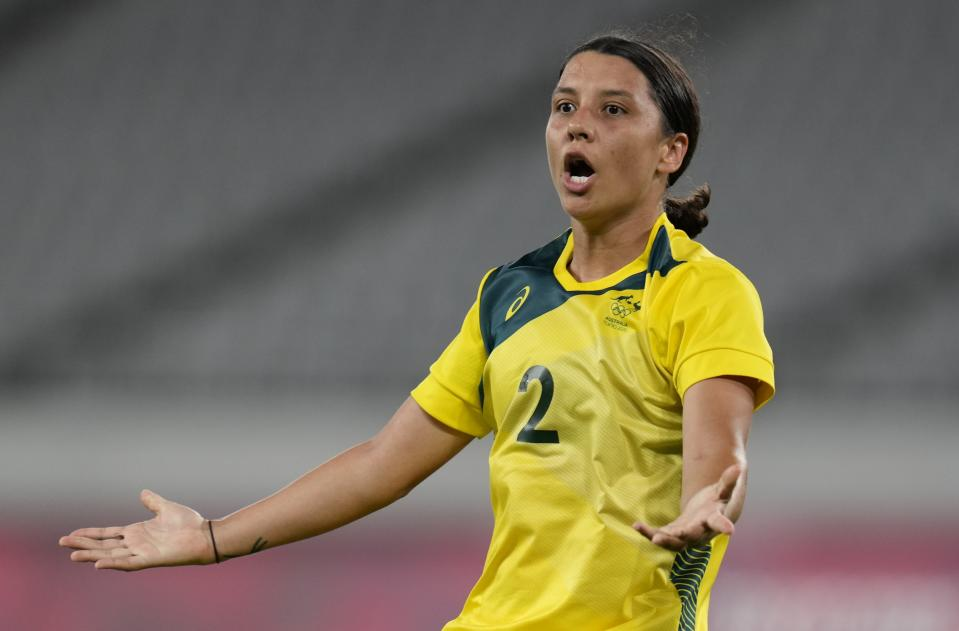 Australia's Sam Kerr celebrates after scoring her side's second goal during a women's soccer match against New Zealand at the 2020 Summer Olympics, Wednesday, July 21, 2021, in Tokyo. (AP Photo/Ricardo Mazalan)