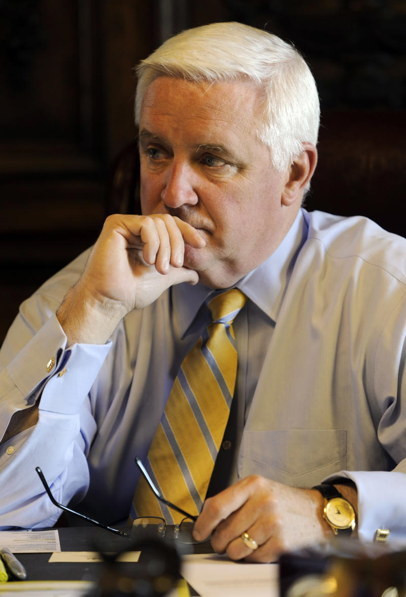 Pennsylvania Gov. Tom Corbett confers with Lt. Gov. Jim Cawley in his capitol office  prior to the final vote to approve the 2011-12 state budget Wednesday, June 29, 2011 in Harrisburg, Pa. The budget bill passed the Republican-controlled state Senate late Tuesday on a party-line vote. It is expected to win approval in the House and sent to Gov. Tom Corbett before the June 30 midnight deadline. (AP Photo/Bradley C. Bower)