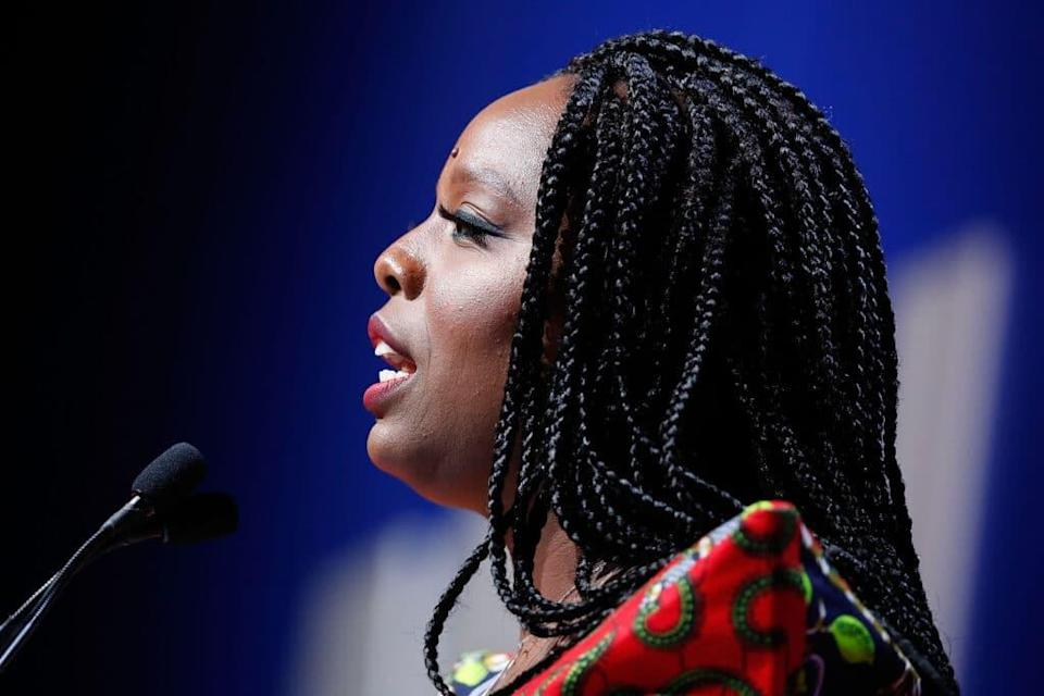Patrisse Cullors speaks at the 2018 ACLU National Conference. (Paul Morigi/Getty Images)