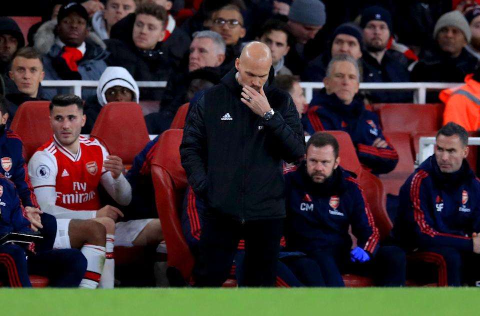 Arsenal interim manager Freddie Ljungberg reacts on the touchline during the Premier League match at the Emirates Stadium, London. (Photo by Adam Davy/PA Images via Getty Images)