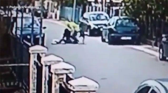 The dog came to the rescue of the woman as she was flung to the ground. Facebook/Podgoricki Vermeplov