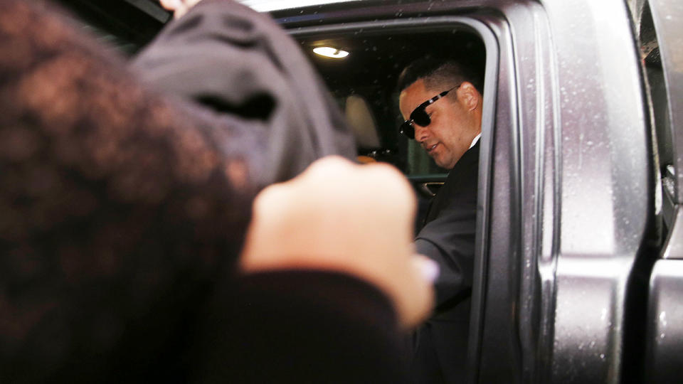 Jarryd Hayne, pictured here arriving at Newcastle Court for his sentence hearing.