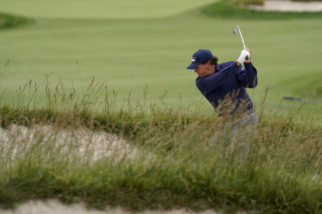 Phil Mickelson hits from the fairway on the 15th hole during the second round of the U.S. Open golf tournament Friday, June 14, 2019, in Pebble Beach, Calif. (AP Photo/David J. Phillip)