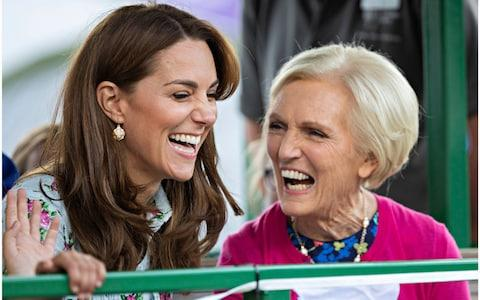 All smiles from the Duchess of Cambridge and Mary Berry at RHS Wisley - Credit: Rupert Hartley
