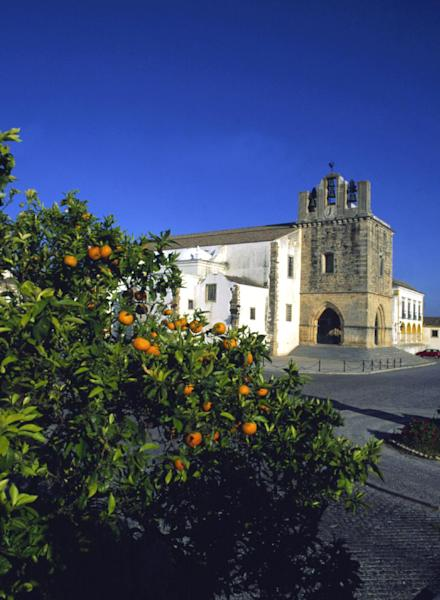This undated image provided by the Portuguese National Tourist Office shows the cathedral in Faro, Portugal. Attractions in the city on the country's southern coast include a walled old town with orange trees, cobblestone streets and centuries-old buildings. (AP Photo/Portuguese National Tourist Office, Antonio Sacchetti)