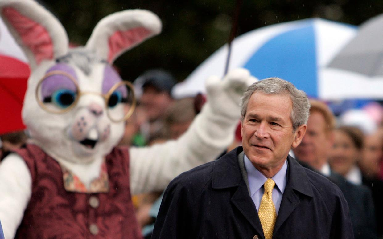 President Bush and the Easter Bunny greet children on the South Lawn of the White House on April 17, 2006.