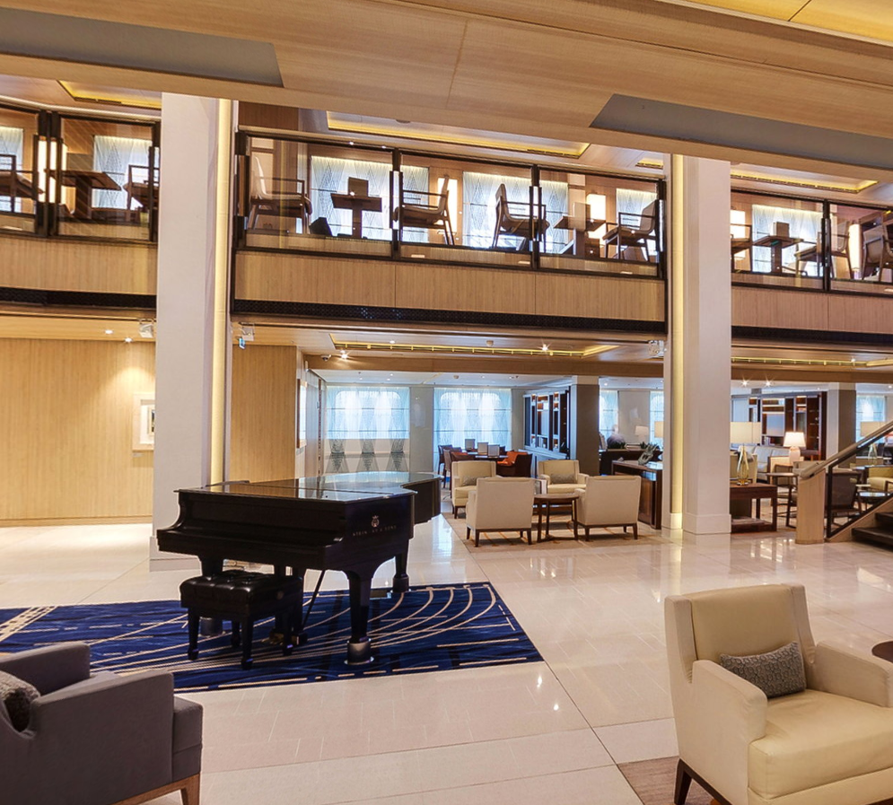 <p>In the heart of the ship sits a grand piano surrounded by the Viking living room. The Viking Orion has nine decks and carries 930 passengers Source: Viking Ocean Cruises. </p>