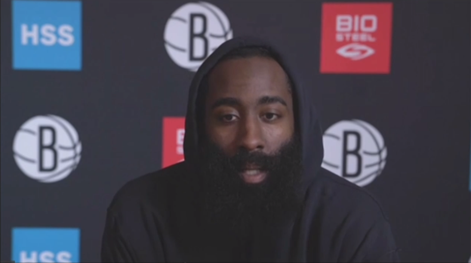 James Harden during into zoom with Nets