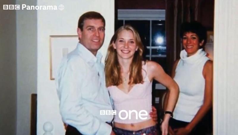 Prince Andrew pictured with his arm around Virginia Giuffre. The photographer who first copied the image has told BBC Panorama there is no way it was fake (BBC)