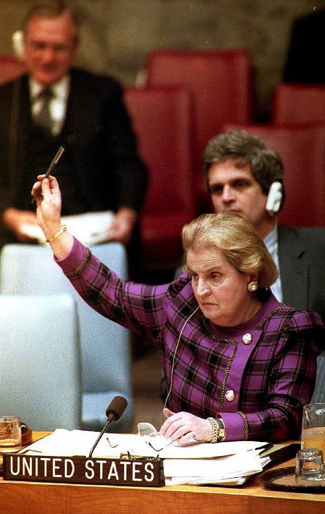 U.S. Ambassador to the United Nations Madeleine Albright votes Feb. 22, 1993, in the Security Council meeting to create an international war crimes tribunal for Yugoslavia.