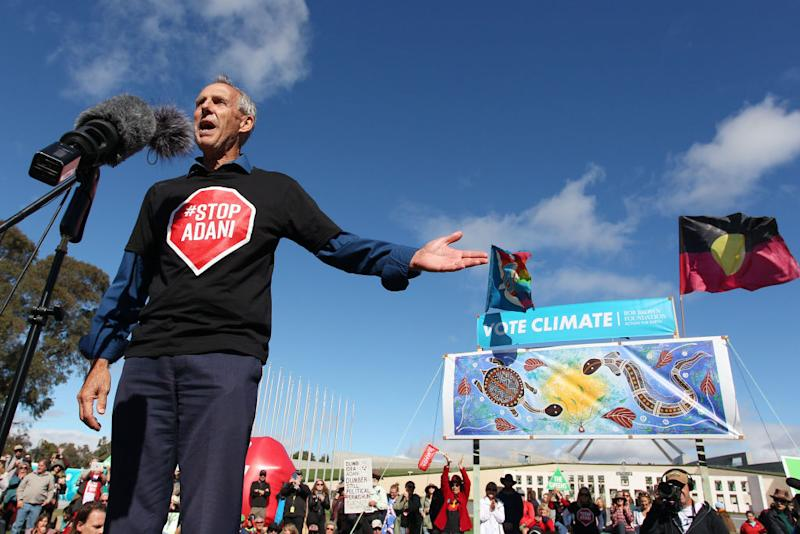 Bob Brown speaks during a stop-Adani rally outside Parliament House on May 05, 2019 in Canberra, Australia. Source: Getty