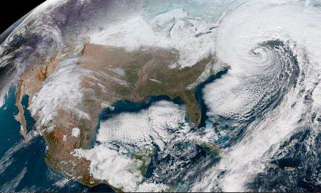 <p>This Geocolor GOES-16 satellite image captures the deepening storm off the East coast of the United States on Jan. 4, 2018, at 16:22 UTC. (Photo: NOAA) </p>