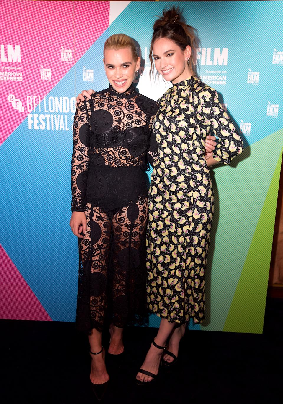 Billie Piper (left) and Lily James attending the Rare Beasts Premiere as part of the BFI London Film Festival 2019 held at the Curzon Mayfair, London. (Photo by David Parry/PA Images via Getty Images)